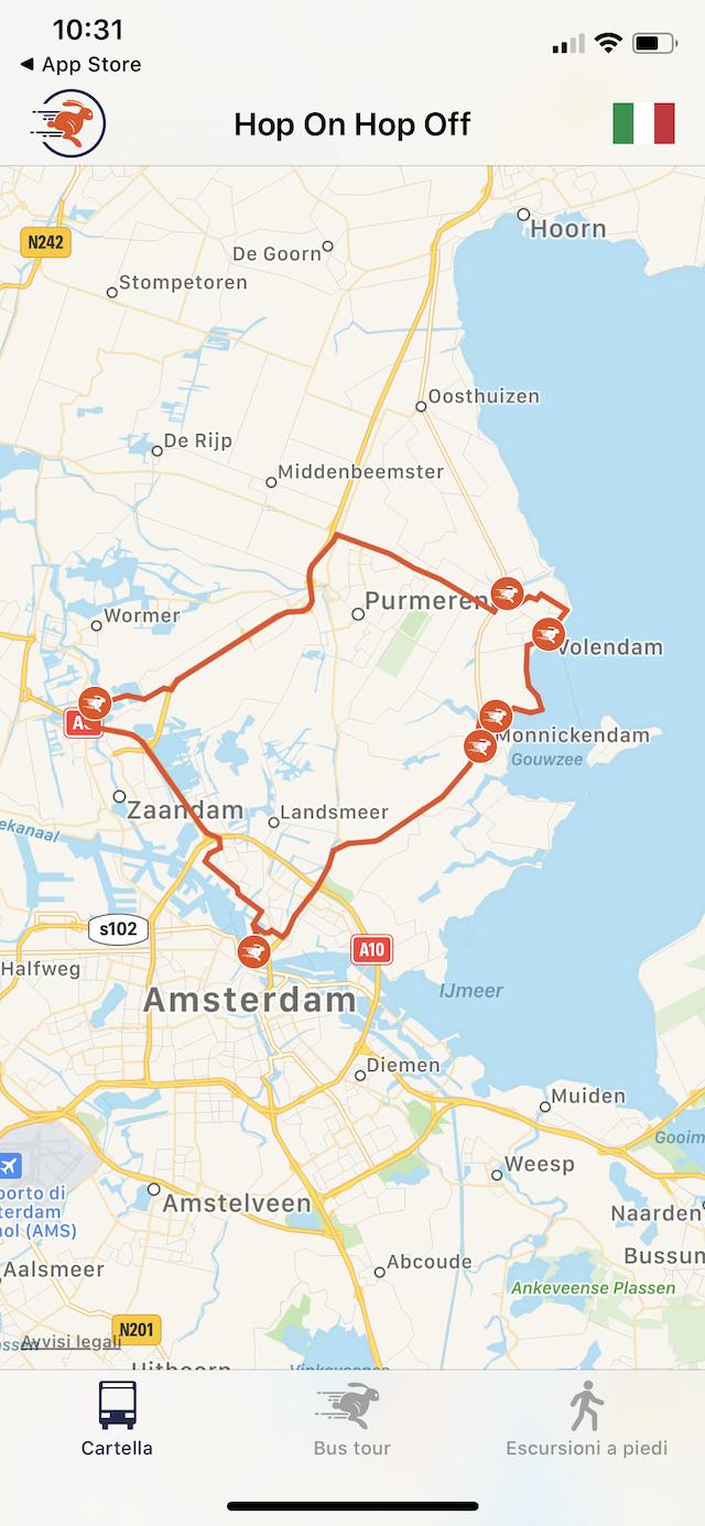 карта тура по городам рядом с Амстердамом с Hop on Hop off Holland