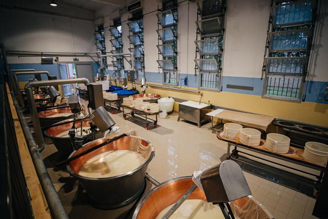 Производственный цех на сыроварне пармиджано реджано под городом Парма в Италии